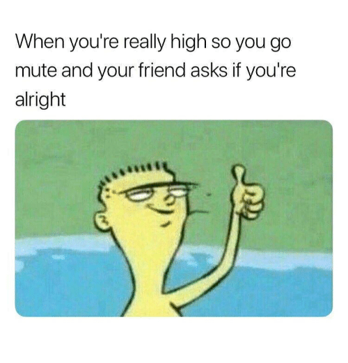 Really High: When you're really high so you go  mute and your friend asks if you're  alright