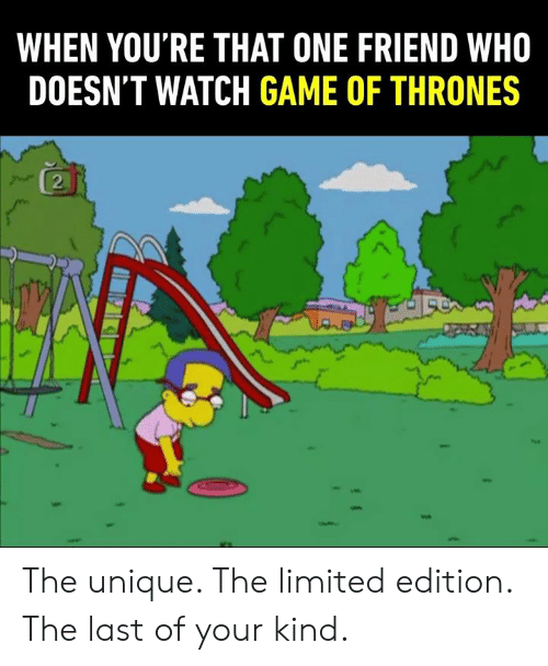 Dank, Game of Thrones, and Game: WHEN YOU'RE THAT ONE FRIEND WHO  DOESN'T WATCH GAME OF THRONES  2 The unique. The limited edition. The last of your kind.