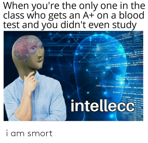 Didnt: When you're the only one in the  class who gets an A+ on a blood  test and you didn't even study  के  *nie de omia.be emia  wit  intellecc  WEIN i am smort