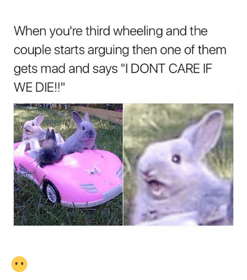 """Wheeling: When you're third wheeling and the  couple starts arguing then one of them  gets mad and says """"I DONT CARE IF  WE DIE!!"""" 😶"""