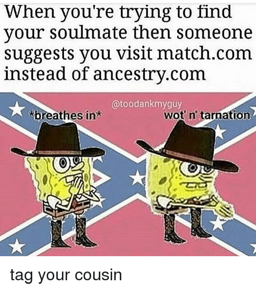 Ancestry, Match, and Dank Memes: When you're trying to find  your soulmate then someone  suggests you visit match.com  instead of ancestry.com  @toodankmyguy  breathes in  wot' n' tarnation tag your cousin