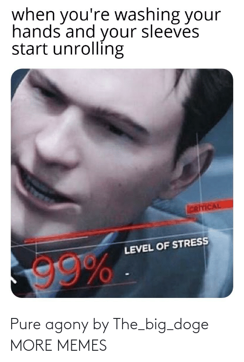 pure: when you're washing your  hands and your sleeves  start unrolling  CRITICAL  LEVEL OF STRESS Pure agony by The_big_doge MORE MEMES