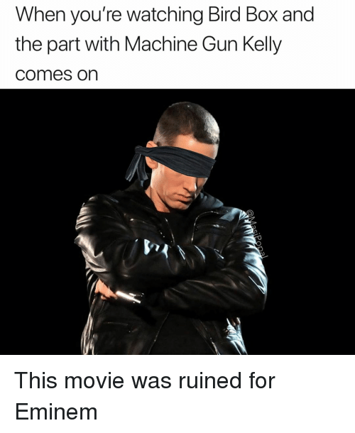 Eminem, Funny, and Machine Gun Kelly: When you're watching Bird Box and  the part with Machine Gun Kelly  comes on This movie was ruined for Eminem