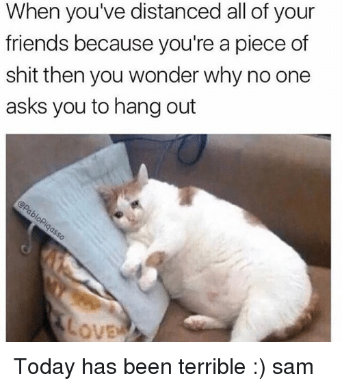 Terribler: When you've distanced all of your  friends because you're a piece of  shit then you wonder why no one  asks you to hang out Today has been terrible :) ≪sam≫