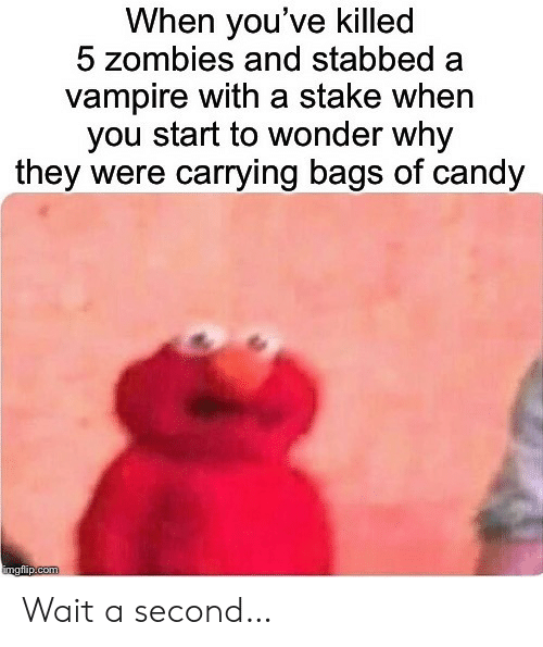 Zombies: When you've killed  5 zombies and stabbed  vampire with a stake when  you start to wonder why  they were carrying bags of candy  imgflip.com Wait a second…