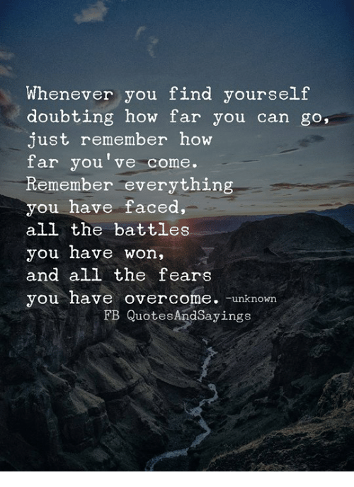 All The, How, and Can: Whenever you find yourself  doubting how far you can go,  just remember how  far you've come.  Remember everything  you have faced,  all the battles  you have won,  and all the fears  you have overcome -unknown  FB QuotesAndSayings