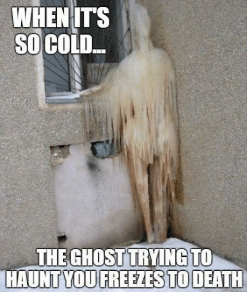 Memes, Death, and Ghost: WHENITS  SO COLD  THE GHOST TRYING TO  HAUNT YOU FREEZES TO DEATH