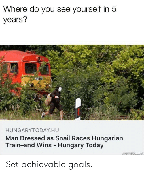 Hungarian: Where do you see yourself in 5  years?  HUNGARYTODAY HU  Man Dressed as Snail Races Hungarian  Train-and Wins Hungary Today Set achievable goals.