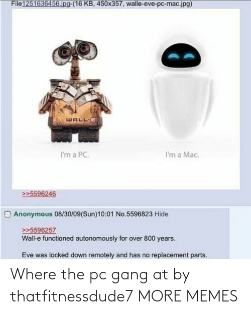 Gang: Where the pc gang at by thatfitnessdude7 MORE MEMES