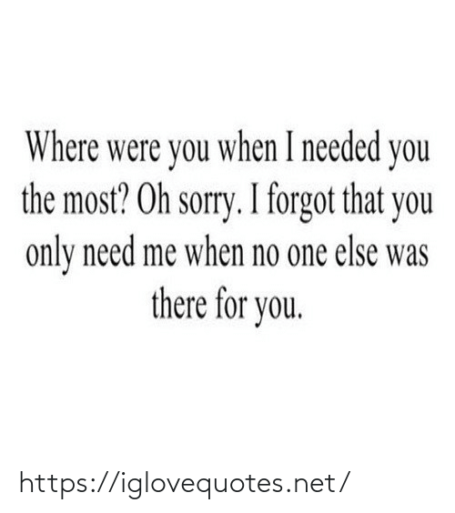 Sorry: Where were you when I needed you  the most? Oh sorry. I forgot that you  only need me when no one else was  there for you. https://iglovequotes.net/