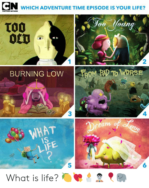 Bad, Cartoon Network, and Dank: WHICH ADVENTURE TIME EPISODE IS YOUR LIFE?  CARTOON NETWORK  TO0  0CT  Jon Yodng  1  2  BURNING LOW  ROM BAD TO WORSE  3  4  Dreem of oun  WHAT  1S  LIFE  ?  6 What is life? 🍋💘🕯🧟‍♂️🎈🐘⁣⁣