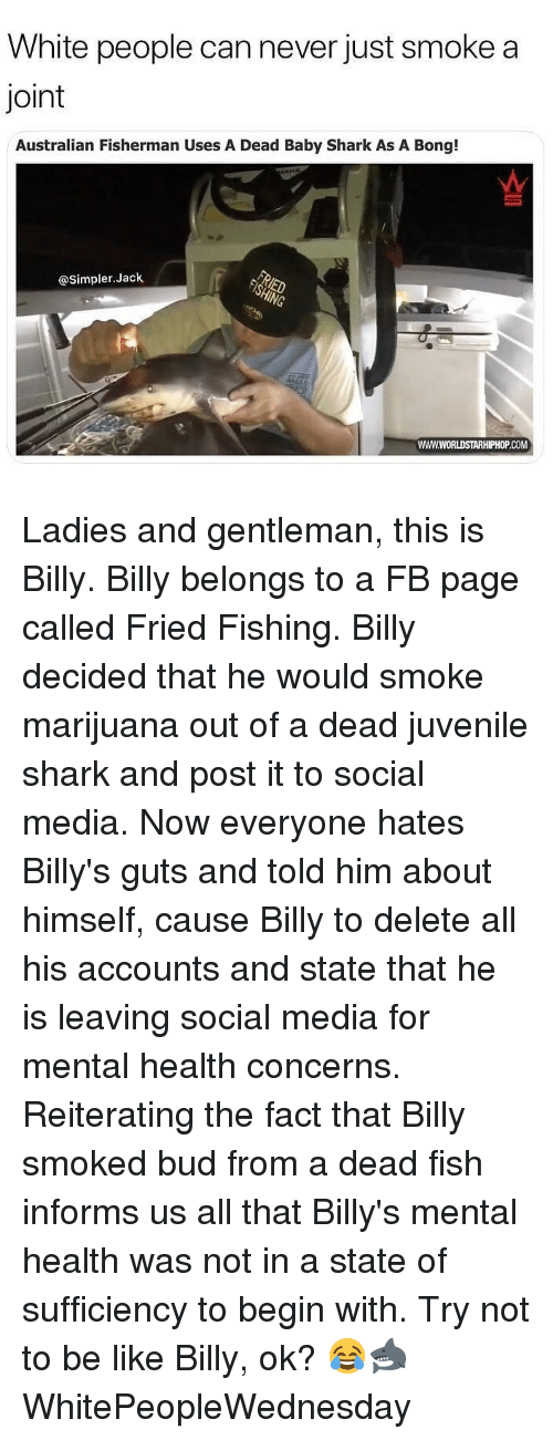 Be Like, Juvenile, and Memes: White people can never just smoke a  Joint  Australian Fisherman Uses A Dead Baby Shark As A Bong!  @Simpler.Jack  WWW.WORLDSTARHIPHOP.COM Ladies and gentleman, this is Billy. Billy belongs to a FB page called Fried Fishing. Billy decided that he would smoke marijuana out of a dead juvenile shark and post it to social media. Now everyone hates Billy's guts and told him about himself, cause Billy to delete all his accounts and state that he is leaving social media for mental health concerns. Reiterating the fact that Billy smoked bud from a dead fish informs us all that Billy's mental health was not in a state of sufficiency to begin with. Try not to be like Billy, ok? 😂🦈 WhitePeopleWednesday
