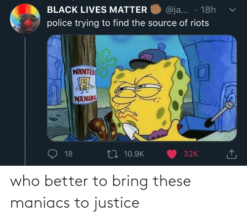 better: who better to bring these maniacs to justice