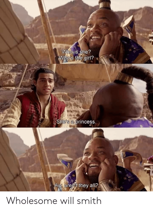 Will Smith: Who is she?  Who's the girl?  She's a princess.  Aw arent they all? Wholesome will smith