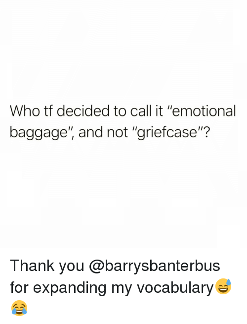 """vocabulary: Who tf decided to call it """"emotional  baggage"""", and not """"griefcase""""? Thank you @barrysbanterbus for expanding my vocabulary😅😂"""