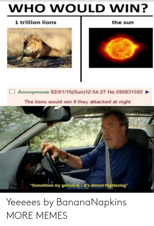 "Its Almost: WHO WOULD WIN?  1 trillion lions  the sun  Anonymous 02/01/15(Sun)12:54:27 No.595831502  The lions would win if they attacked at night  ""Sometimes my genius is... it's almost frightening"" Yeeeees by BananaNapkins MORE MEMES"