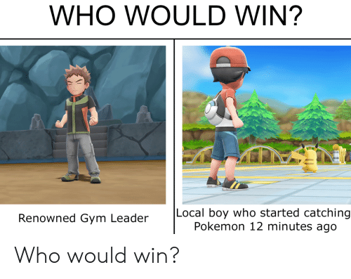 Renowned: WHO WOULD WIN?  Local boy who started catching  Pokemon 12 minutes ago  Renowned Gym Leader Who would win?