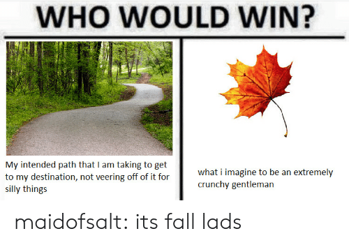 gentleman: WHO WOULD WIN?  My intended path that I am taking to get  to my destination, not veering off of it for  SI  what i imagine to be an extremely  crunchy gentleman  silly things maidofsalt: its fall lads