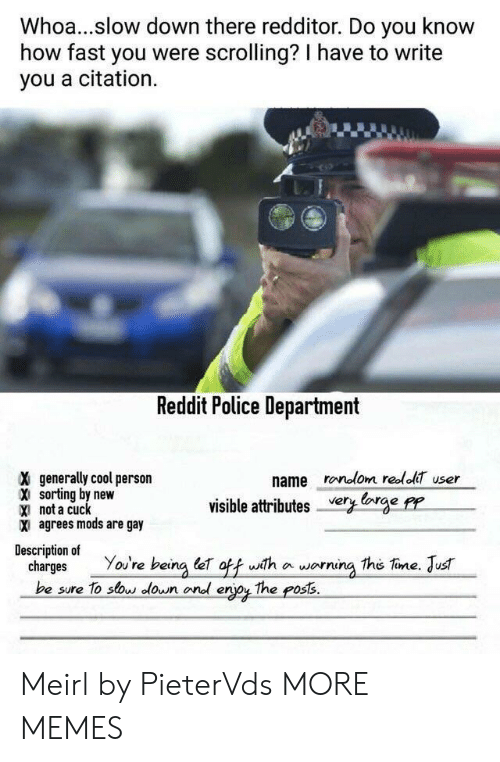 Dank, Memes, and Police: Whoa...slow down there redditor. Do you know  how fast you were scrolling? I have to write  you a citation.  Reddit Police Department  X generally cool person  name ronolom redol user  sorting by new  X not a cuck  X agrees mods are gay  visible attributesCge PP  Description of  charges You're being e ofwith a worning the Tine. Jus  be sure To sow lown onl erjoy The poss. Meirl by PieterVds MORE MEMES