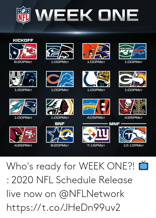 Schedule: Who's ready for WEEK ONE?!  📺: 2020 NFL Schedule Release live now on @NFLNetwork https://t.co/JHeDn99uv2