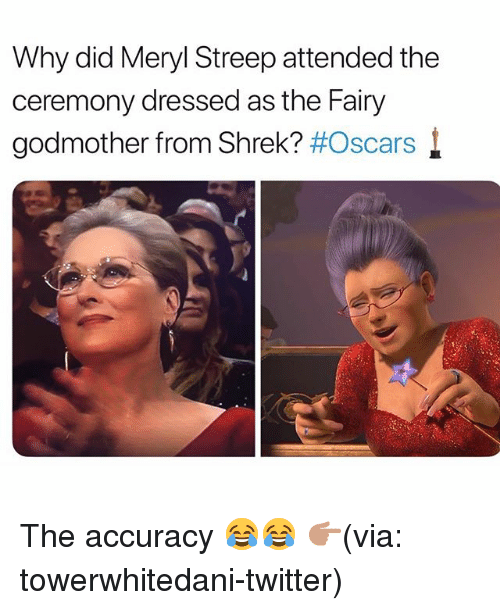 Funny, Oscars, and Shrek: Why did Meryl Streep attended the  ceremony dressed as the Fairy  godmother from Shrek? #Oscars l The accuracy 😂😂 👉🏽(via: towerwhitedani-twitter)