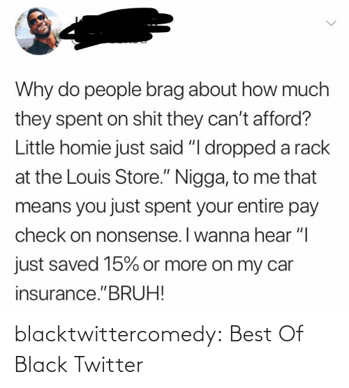 """homie: Why do people brag about how much  they spent on shit they can't afford?  Little homie just said """"I dropped a rack  at the Louis Store."""" Nigga, to me that  means you just spent your entire pay  check on nonsense. I wanna hear """"I  just saved 15% or more on my car  insurance.""""BRUH! blacktwittercomedy:  Best Of Black Twitter"""