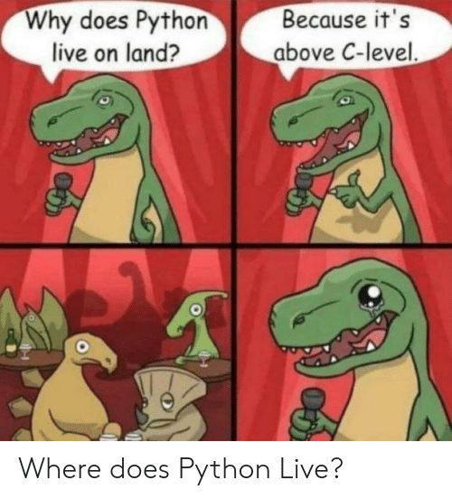 Because Its: Why does Python  live on land?  Because it's  above C-level. Where does Python Live?