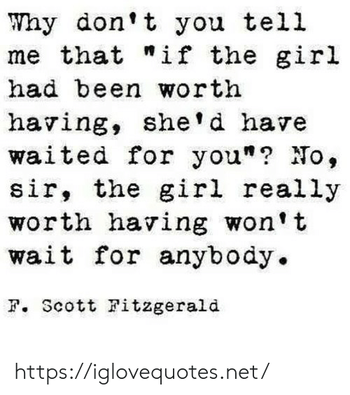 """Why Dont: Why don't you tell  me that """"if the girl  had been worth  having, she'd have  waited for you""""? No,  sir, the girl really  worth having won't  wait for anybody.  F. Scott Fitzgerald https://iglovequotes.net/"""