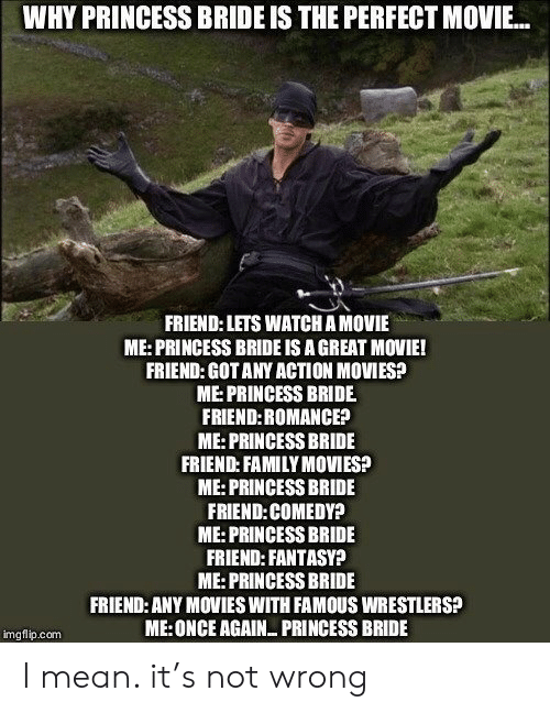 Family, Movies, and Mean: WHY PRINCESS BRIDE IS THE PERFECT MOVIE...  FRIEND: LETS WATCH A MOVIE  ME:PRINCESS BRIDE IS A GREAT MOVIE!  FRIEND: GOT ANY ACTION MOVIES?  ME:PRINCESS BRIDE  FRIEND:ROMANCE?  ME: PRINCESS BRIDE  FRIEND: FAMILY MOVIES?  ME:PRINCESS BRIDE  FRIEND:COMEDY?  ME:PRINCESS BRIDE  FRIEND: FANTASY?  ME:PRINCESS BRIDE  FRIEND: ANY MOVIES WITH FAMOUS WRESTLERS?  ME:ONCE AGAIN PRINCESS BRIDE  imgflip.com I mean. it's not wrong
