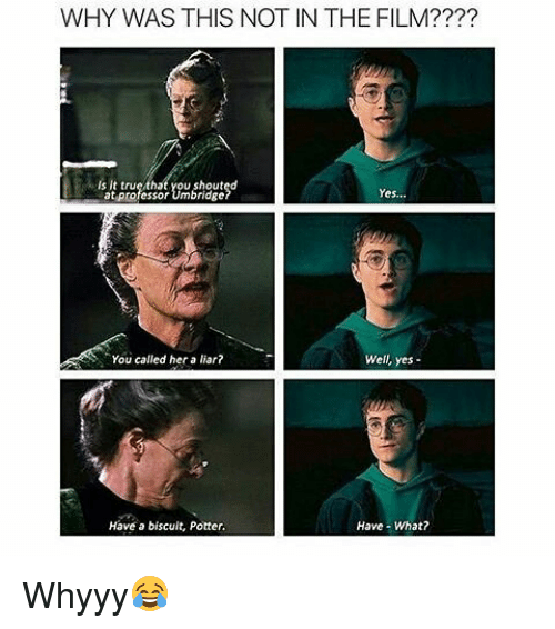 whyyy: WHY WAS THIS NOT IN THE FILM????  Is It true/that you shouted  at professor Umbridge  Yes...  You called her a liar?  Well, yes-  Have a biscuit, Potter  Have- What? Whyyy😂