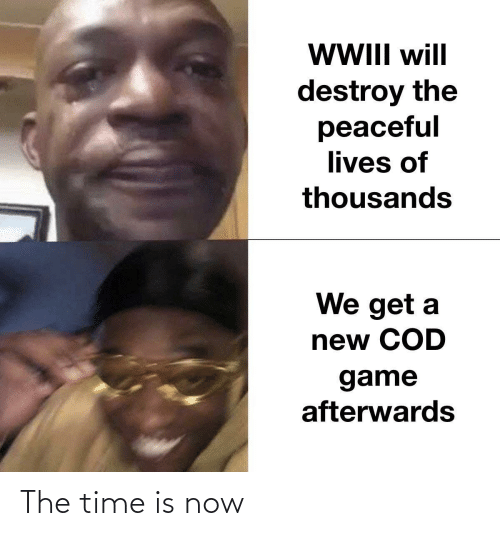 Get A: WII will  destroy the  peaceful  lives of  thousands  We get a  new COD  game  afterwards The time is now