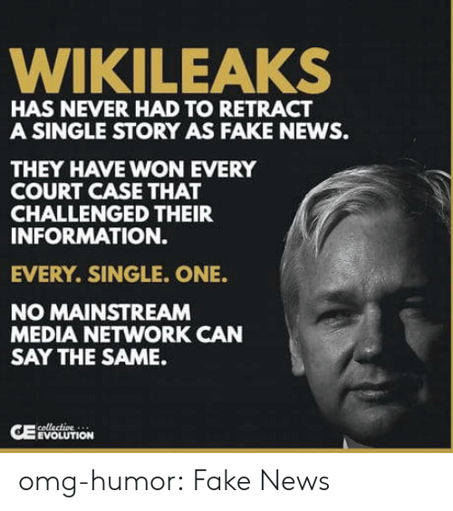 Fake, News, and Omg: WIKILEAKS  HAS NEVER HAD TO RETRACT  A SINGLE STORY AS FAKE NEWS.  THEY HAVE WON EVERY  COURT CASE THAT  CHALLENGED THEIR  INFORMATION.  EVERY. SINGLE. ONE.  NO MAINSTREAM  MEDIA NETWORK CAN  SAY THE SAME.  EVOLUTION omg-humor:  Fake News