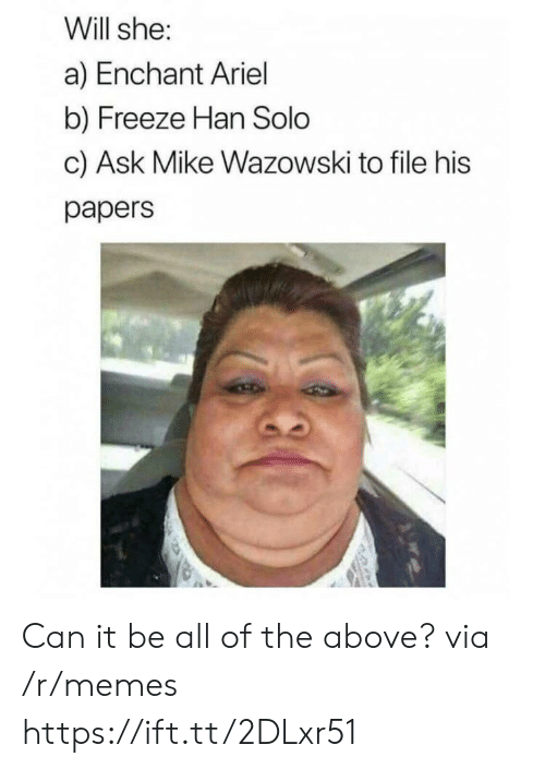 Han Solo: Will she:  a) Enchant Ariel  b) Freeze Han Solo  c) Ask Mike Wazowski to file his  papers Can it be all of the above? via /r/memes https://ift.tt/2DLxr51