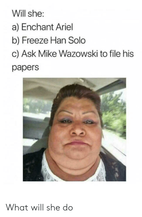 Han Solo: Will she:  a) Enchant Ariel  b) Freeze Han Solo  c) Ask Mike Wazowski to file his  papers What will she do