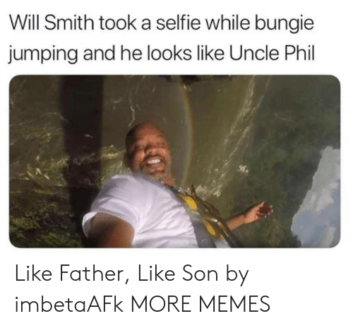 Will Smith: Will Smith took a selfie while bungie  jumping and he looks like Uncle Phil Like Father, Like Son by imbetaAFk MORE MEMES