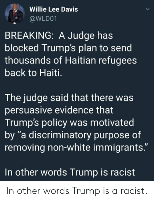 """Haiti, Trump, and White: Willie Lee Davis  @WLD01  BREAKING: A Judge has  blocked Trump's plan to send  thousands of Haitian refugees  back to Haiti.  The judge said that there was  persuasive evidence that  Trump's policy was motivated  by """"a discriminatory purpose of  removing non-white immigrants.""""  In other words Trump is racist In other words Trump is a racist."""