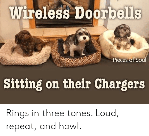 rings: Wireless Doorbells  Pieces of Soul  Sitting on their Chargers Rings in three tones. Loud, repeat, and howl.