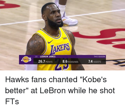"""LeBron James, Hawks, and Lebron: wish  23 LEBRON JAMES  THIS SEASON  AKER  26.7 POINTS  8.6 REBOUNDS  1.4 ASSISTS Hawks fans chanted """"Kobe's better"""" at LeBron while he shot FTs"""