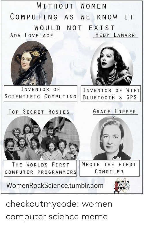 computing: WITHOUT WOMEN  COMPUTING AS WE KNOW IT  WOULD NOT EXIST  ADA LOVELACE  HEDY LAMARR  INVENTOR OF  INVENTOR OF WIFI  SCIENTIFIC COMPUTING BLUETOOTH & GPS  TOP SECRET RosIES  GRACE HOPPER  THE WORLD'S FIRST WROTE THE FIRST  COMPUTER PROGRAMMERS  COMPILER  WomenRockScience.tumblr.com  eNC checkoutmycode:  women computer science meme