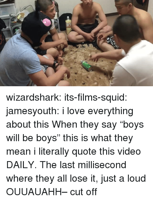 """Love, Target, and Tumblr: wizardshark:  its-films-squid:  jamesyouth:  i love everything about this   When they say """"boys will be boys"""" this is what they mean  i literally quote this video DAILY. The last millisecond where they all lose it, just a loud OUUAUAHH– cut off"""