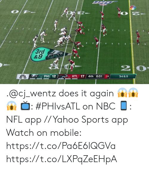 Memes, Nfl, and Sports: WO  3rd  &9  PHI 12  ATL 17  4th 6:01  3rd & 9  :04  1-0  0-1 .@cj_wentz does it again 😱😱😱  📺: #PHIvsATL on NBC 📱: NFL app // Yahoo Sports app Watch on mobile: https://t.co/Pa6E6lQGVa https://t.co/LXPqZeEHpA