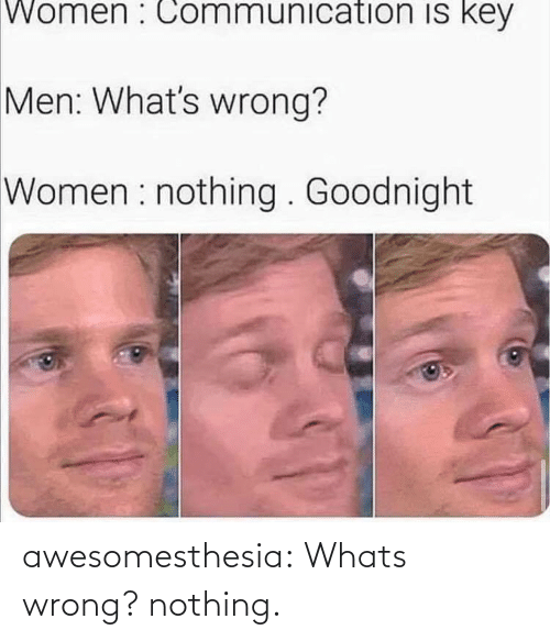 Whats Wrong Nothing: Women : Communication is key  Men: What's wrong?  Women : nothing . Goodnight awesomesthesia:  Whats wrong? nothing.