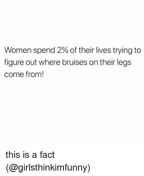 Memes, Women, and 🤖: Women spend 2% of their lives trying to  figure out where bruises on their legs  come from! this is a fact (@girlsthinkimfunny)