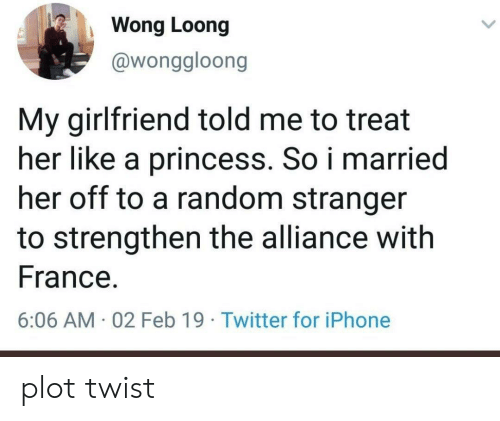 Iphone, Twitter, and France: Wong Loong  @wonggloong  My girlfriend told me to treat  her like a princess. So i married  her off to a random stranger  to strengthen the alliance witlh  France  6:06 AM 02 Feb 19 Twitter for iPhone plot twist
