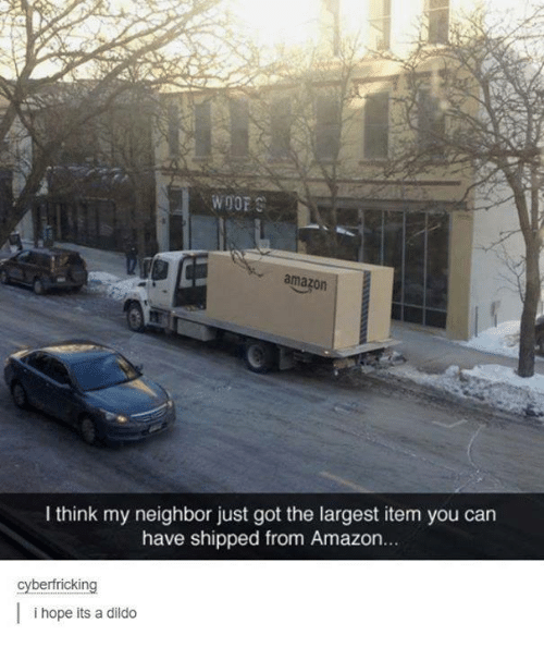 Woofe: WOOF  amazon  I think my neighbor just got the largest item you can  have shipped from Amazon...  cyberfricking  i hope its a dildo