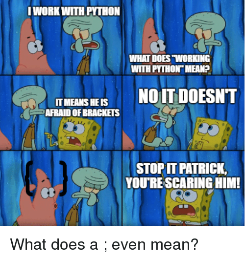"Mean, What Does, and Python: WORKWITH PYTHON  WHAT DOES ""WORKING  WITH PYTHON MEAN?  IT MEANS HE IS  AFRAID OF BRACKETS  STOP PATRICK,  YOU'RE SCARING HIM What does a ; even mean?"