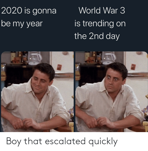 Boy That: World War 3  2020 is gonna  is trending on  the 2nd day  be my year Boy that escalated quickly