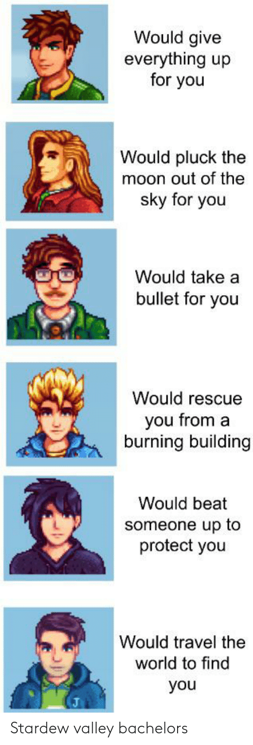 Moon, Travel, and World: Would give  everything up  for you  Would pluck the  moon out of the  sky for you  Would take a  bullet for you  Would rescue  you from a  burning building  Would beat  someone up to  protect you  Would travel the  world to find  you Stardew valley bachelors