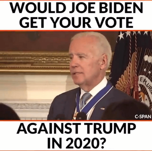 Joe Biden: WOULD JOE BIDEN  GET YOUR VOTE  C-SPAN  AGAINST TRUMP  IN 2020?