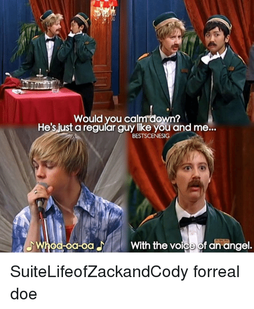 Doe, Memes, and The Voice: Would you calm down?  t a regular guy like you and me...  BESTSCENESIG  With the voice of an angel. SuiteLifeofZackandCody forreal doe